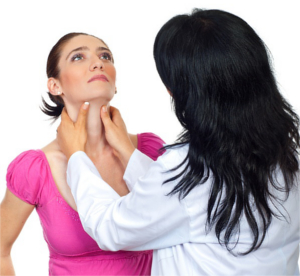 Doctor checking thyroid gland